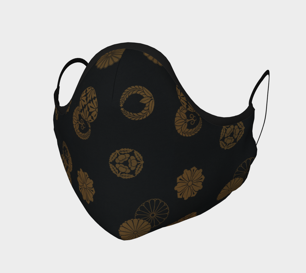 Black and Gold Vintage Japanese Pattern Face Covering - William Shakespeare