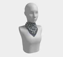 Load image into Gallery viewer, Blue Squared Scarf with Creme Wild Flowers - Sir Walter Raleigh