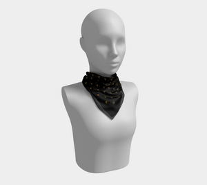 Delicate Flower Gold and Black Squared Scarf - Henry Vaughn