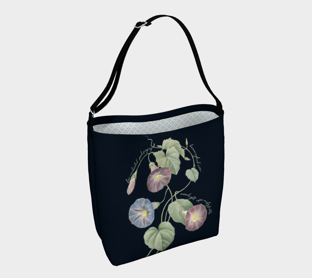 Navy Tote Bag with Hummingbird Vine Vintage Art - Harold Monro