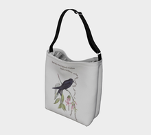 Load image into Gallery viewer, Light Gray Tote Bag with Vintage White-Bibbed Swallow Illustration - Latin Poem