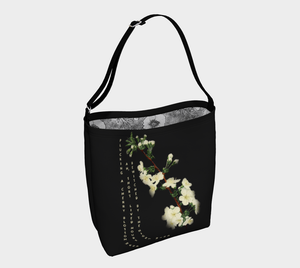 Dark Gray Tote Bag with White Cherry Blossoms Vintage Illustration -  Anna Wickham