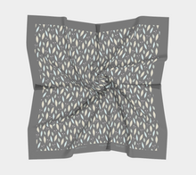 Load image into Gallery viewer, Gray Square Scarf with Twigs and Small Flowers - Anonymous