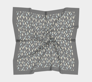Gray Square Scarf with Twigs and Small Flowers - Anonymous