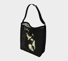 Load image into Gallery viewer, Dark Gray Tote Bag with White Cherry Blossoms Vintage Illustration -  Anna Wickham