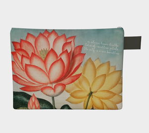 Red and Yellow Lotus Flower Zipper Carry-all Pouch - Kahlil Gibran