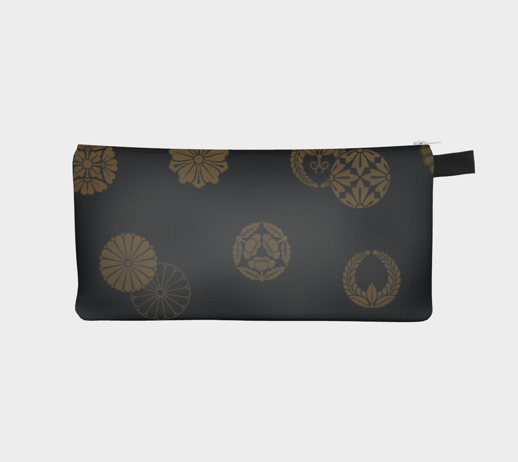 Black and Gold Vintage Japanese Pattern Pencil Case - William Shakespeare