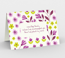 Load image into Gallery viewer, White Stationary Card with Purple Flowers - Geoffrey Chaucer