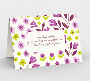 White Stationary Card with Purple Flowers - Geoffrey Chaucer