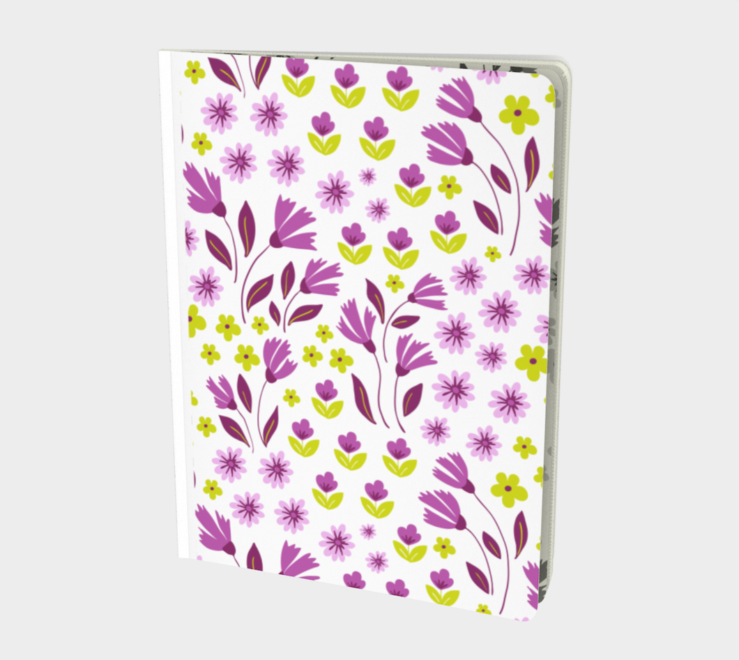 White Large Notebook with Purple Flowers - Geoffrey Chaucer