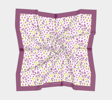Load image into Gallery viewer, White Square Scarf with Purple Flowers - Geoffrey Chaucer