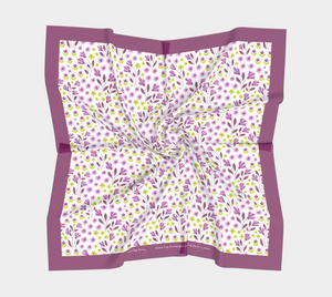 White Square Scarf with Purple Flowers - Geoffrey Chaucer