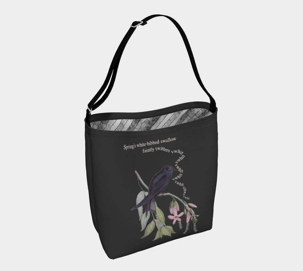 Dark Gray Tote Bag with Vintage White-Bibbed Swallow Illustration - Latin Poem