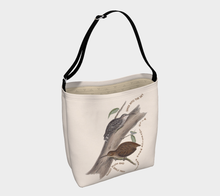Load image into Gallery viewer, Creme Tote Bag with Vintage Wren-Babbler Illustration - Ralph Hodgson