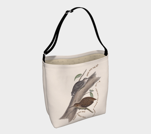 Creme Tote Bag with Vintage Wren-Babbler Illustration - Ralph Hodgson