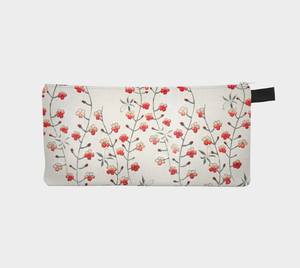 White Vintage Floral Pattern Pencil Case from Bijutsu Sekai - Kobayashi Issa