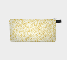 Load image into Gallery viewer, Cream Pencil Case with Golden Flowers - Jane Maria Read