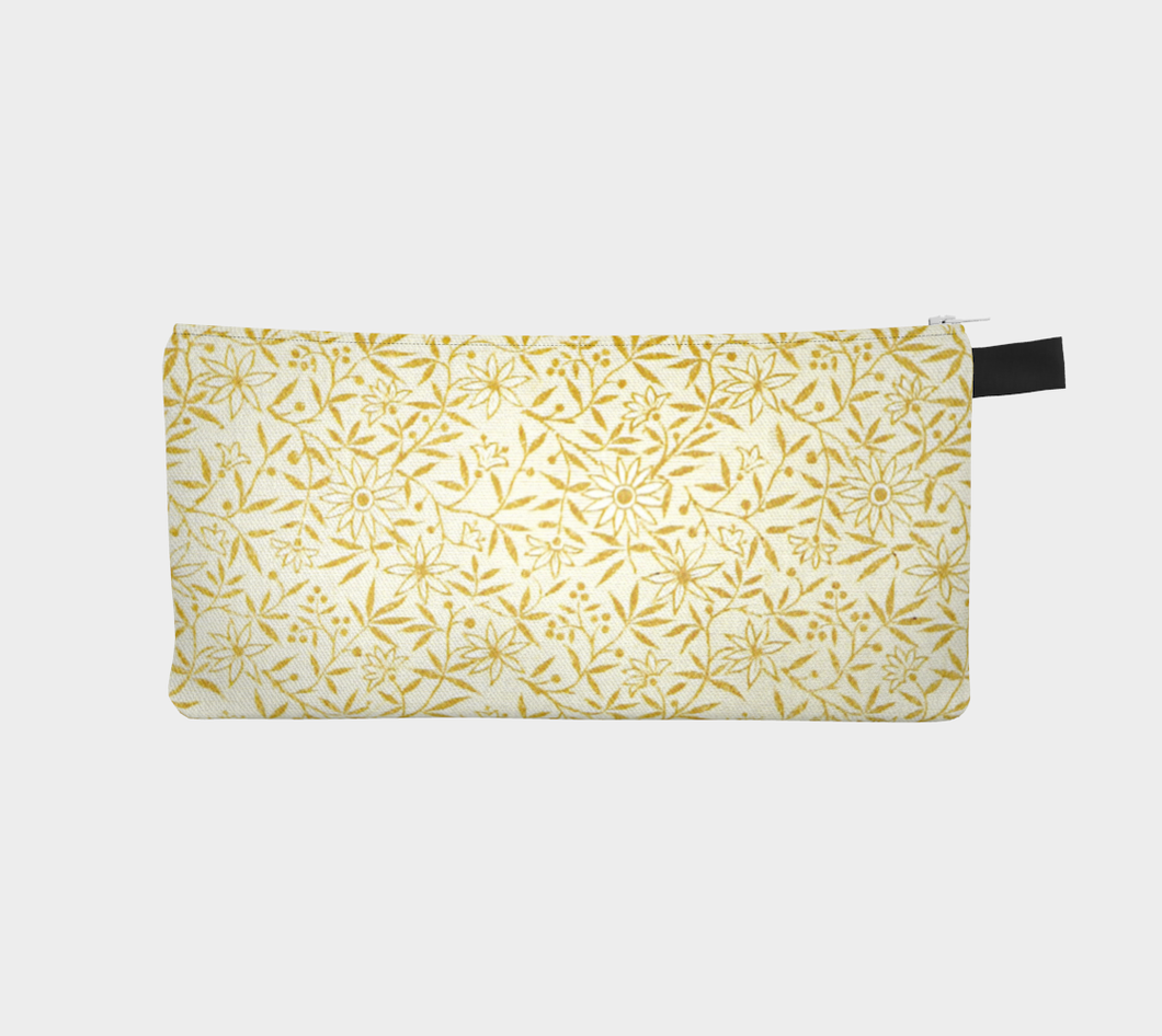 Cream Pencil Case with Golden Flowers - Jane Maria Read