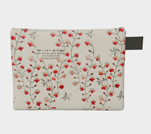 Load image into Gallery viewer, White Vintage Floral Pattern Zipper Carry-all Pouch from Bijutsu Sekai - Kobayashi Issa
