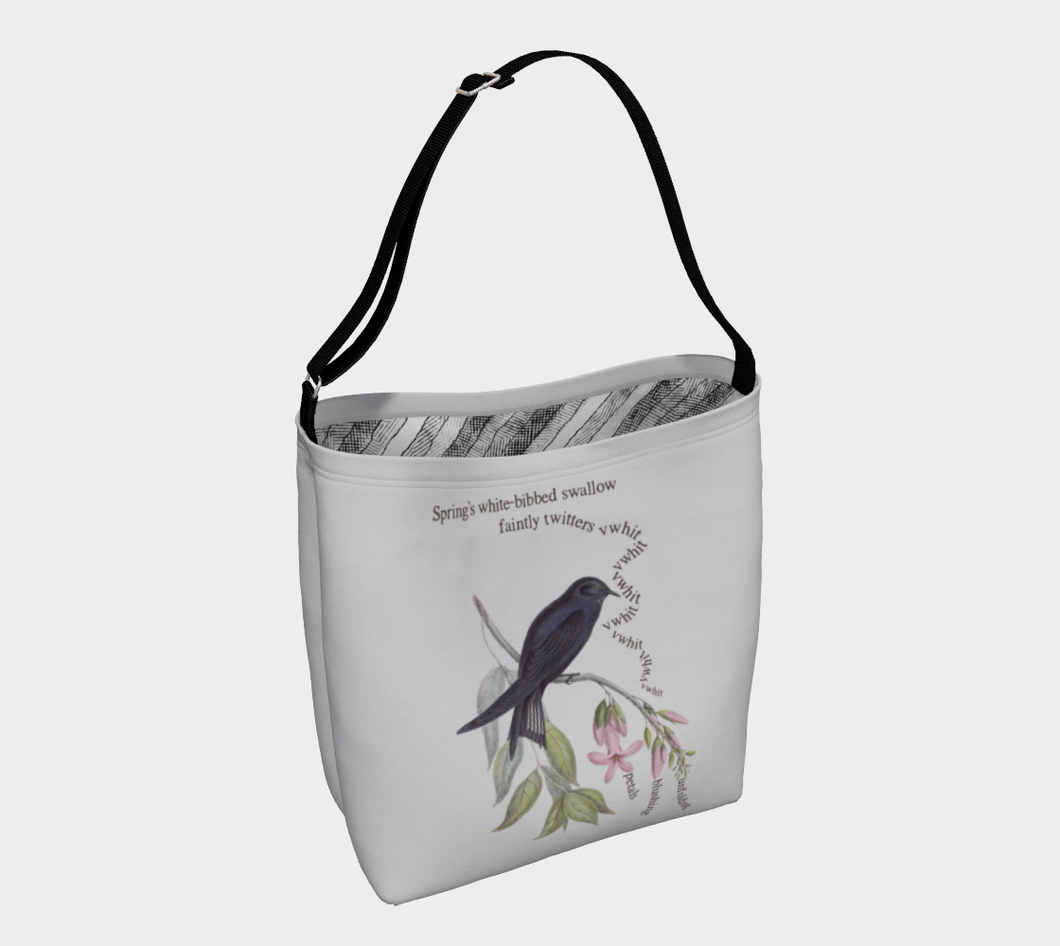 Light Gray Tote Bag with Vintage White-Bibbed Swallow Illustration - Latin Poem