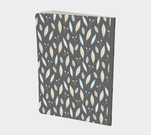 Gray Large Notebook with Twigs and Small Flowers  -  Anonymous
