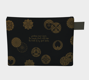 Black and Gold Vintage Japanese Pattern Zipper Carry-all Pouch  - William Shakespeare