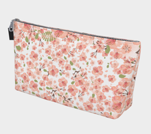 Load image into Gallery viewer, White Cherry Blossom Pattern Makeup Bag - Matsuo Basho