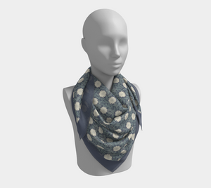 Blue Squared Scarf with Creme Wild Flowers - Sir Walter Raleigh