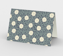 Load image into Gallery viewer, Blue Stationary Card with Creme Wild Flowers - Sir Walter Raleigh