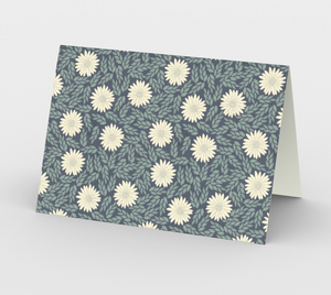 Blue Stationary Card with Creme Wild Flowers - Sir Walter Raleigh