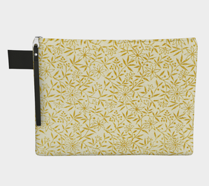Cream Zipper all Pouch with Golden Flowers - Jane Maria Read