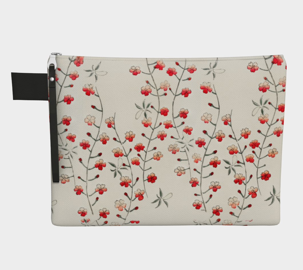 White Vintage Floral Pattern Zipper Carry-all Pouch from Bijutsu Sekai - Kobayashi Issa