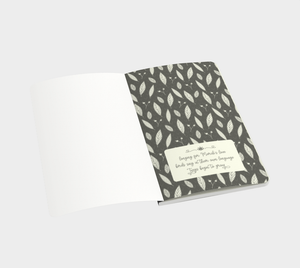 Gray Small Notebook with Twigs and Small Flowers  -  Anonymous