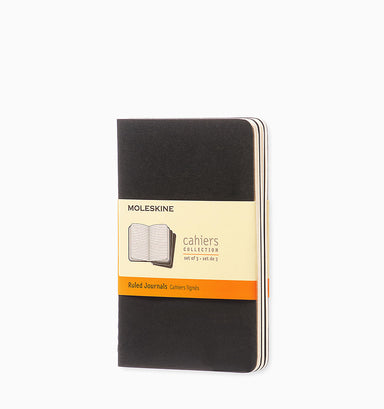 Moleskine Cahier Journal (3 Pack) - Pocket - Ruled - Black