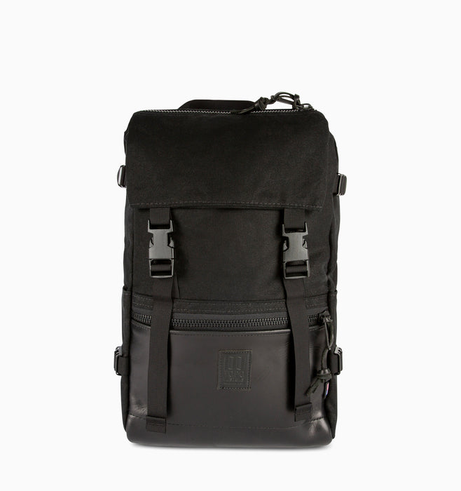 Topo Designs Rover Pack Laptop Backpack - Heritage Canvas Black Black Leather