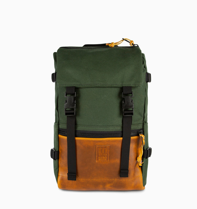 Topo Designs Rover Pack Laptop Backpack - Heritage Canvas Olive Brown Leather
