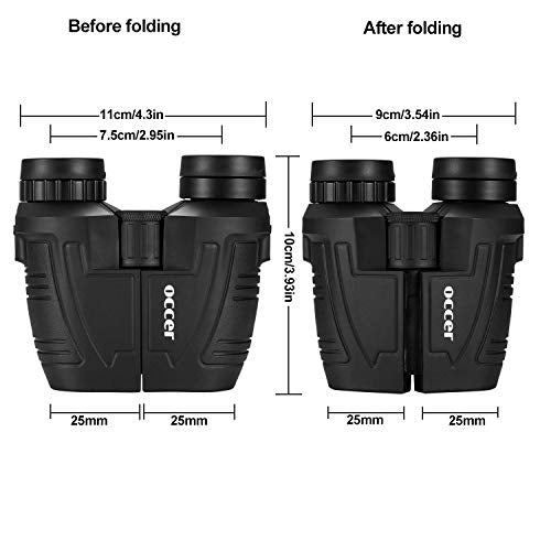 Occer 12x25 Compact Binoculars with Low Light Night Vision, Large Eyepiece Waterproof Binocular for Adults & Kids,High Power Easy Focus Binoculars for Bird Watching,Outdoor Hunting,Travel,Sightseeing