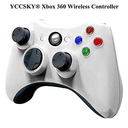 YCCSKY Xbox 360 Wireless Controller, 2.4GHZ Xbox Game Controller Wireless Remote 360 Controller Gamepad Joystick for Microsoft Xbox 360 Slim and PC with Windows 7/8/10 (Not for Xbox One), White