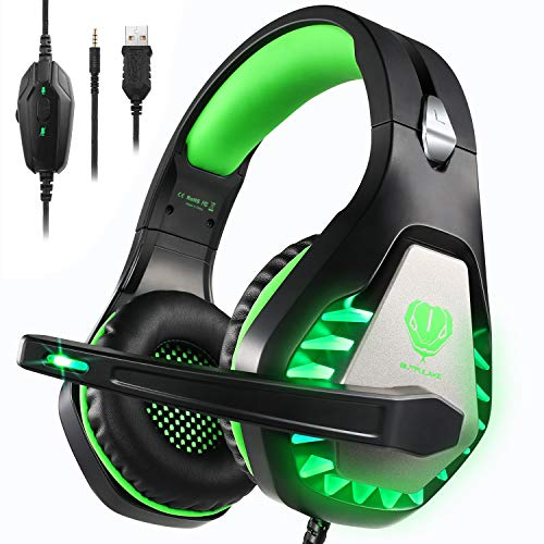 Pacrate Stereo Gaming Headset for PS4, Xbox One, PC with Noise Cancelling Mic - Surround Sound Gaming Headphones - Soft Memory Over Ear PS4 Headset with LED Light for Mac, Laptop