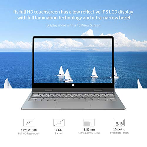 "BMAX 2 in 1 Convertible Laptop, 11.6"" FHD (1920 X 1080) IPS Touchscreen, Intel Quad-Core Celeron N4120, 8GB DDR4, 256GB SATA SSD, Expandable 1TB SSD, Windows 10, Type-C, HDMI, All-Metal Body"