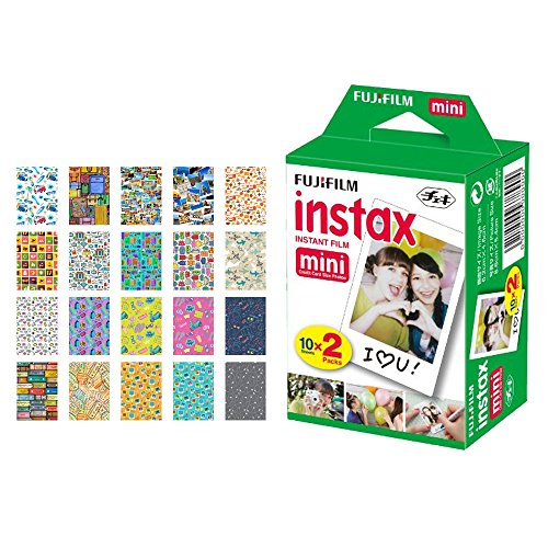 Fujifilm instax Mini Instant Film (20 Exposures) + 20 Sticker Frames for Fuji Instax Prints Travel Package