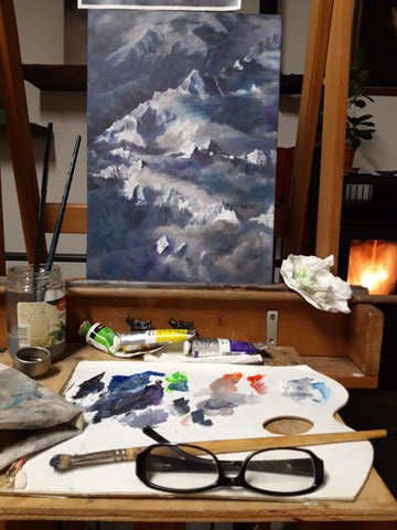 Landscape Painting The Alps Switzerland Aerial View On Easel