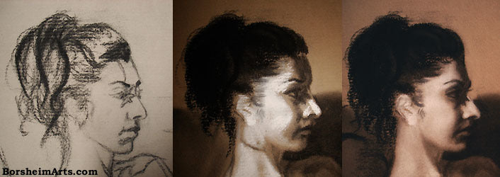 Designing a Portrait of a Young Woman in Charcoal and Pastel Daydreaming of Yesterday