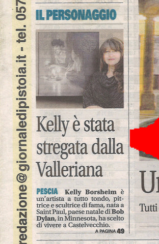 detail of article lead Giornale di Pistoia in Tuscany Italy artist interview