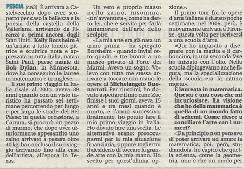 newspaper article detail, artist interview written in Italian, Giornale di Pistoia, Tuscany, Italy