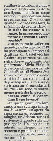 Last column of Italian text in newspaper Giornale di Pistoia, Tuscany of artist interview with Kelly Borsheim