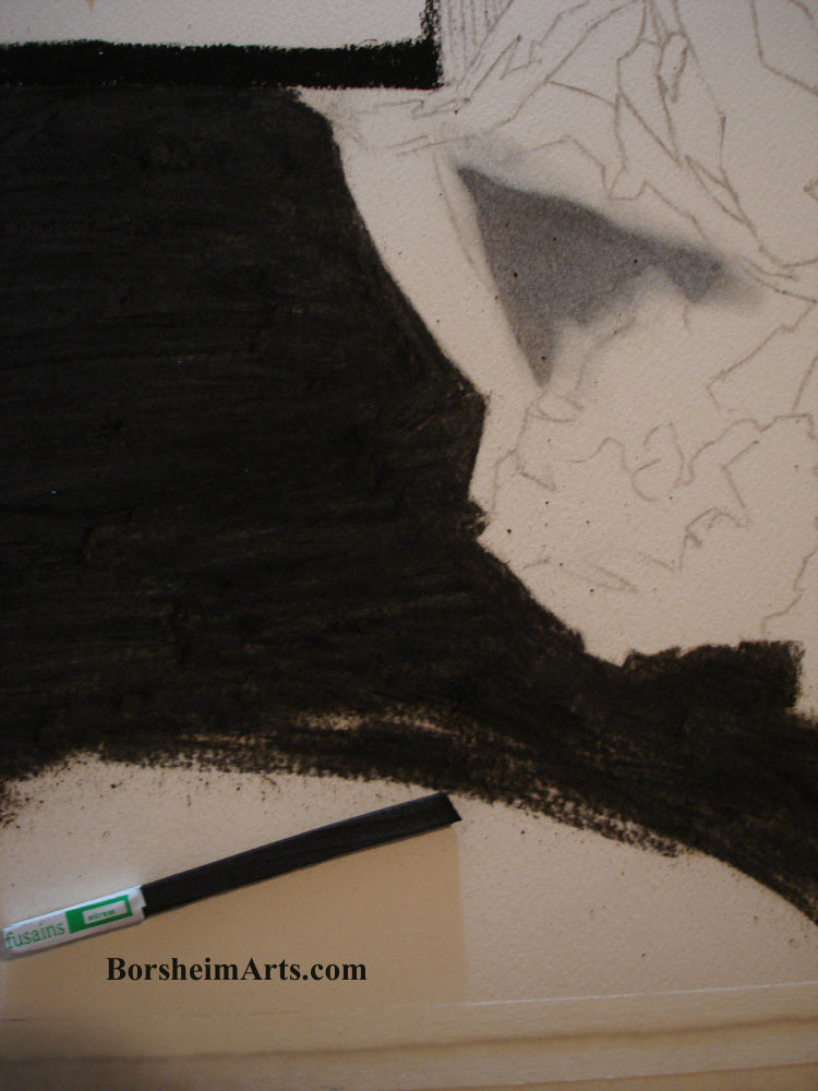 Charcoal Drawing Laying in the Darks
