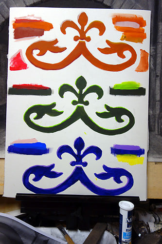 Color samples for Mural Window decor  each window received a different color combination
