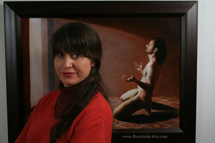 Self Portrait Artist Kelly Borsheim with her painting of male nude in Relinquish