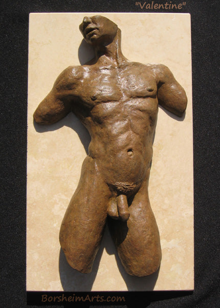 Valentine Nude Man Male Torso Wall Art Bronze with Stone Sculpture